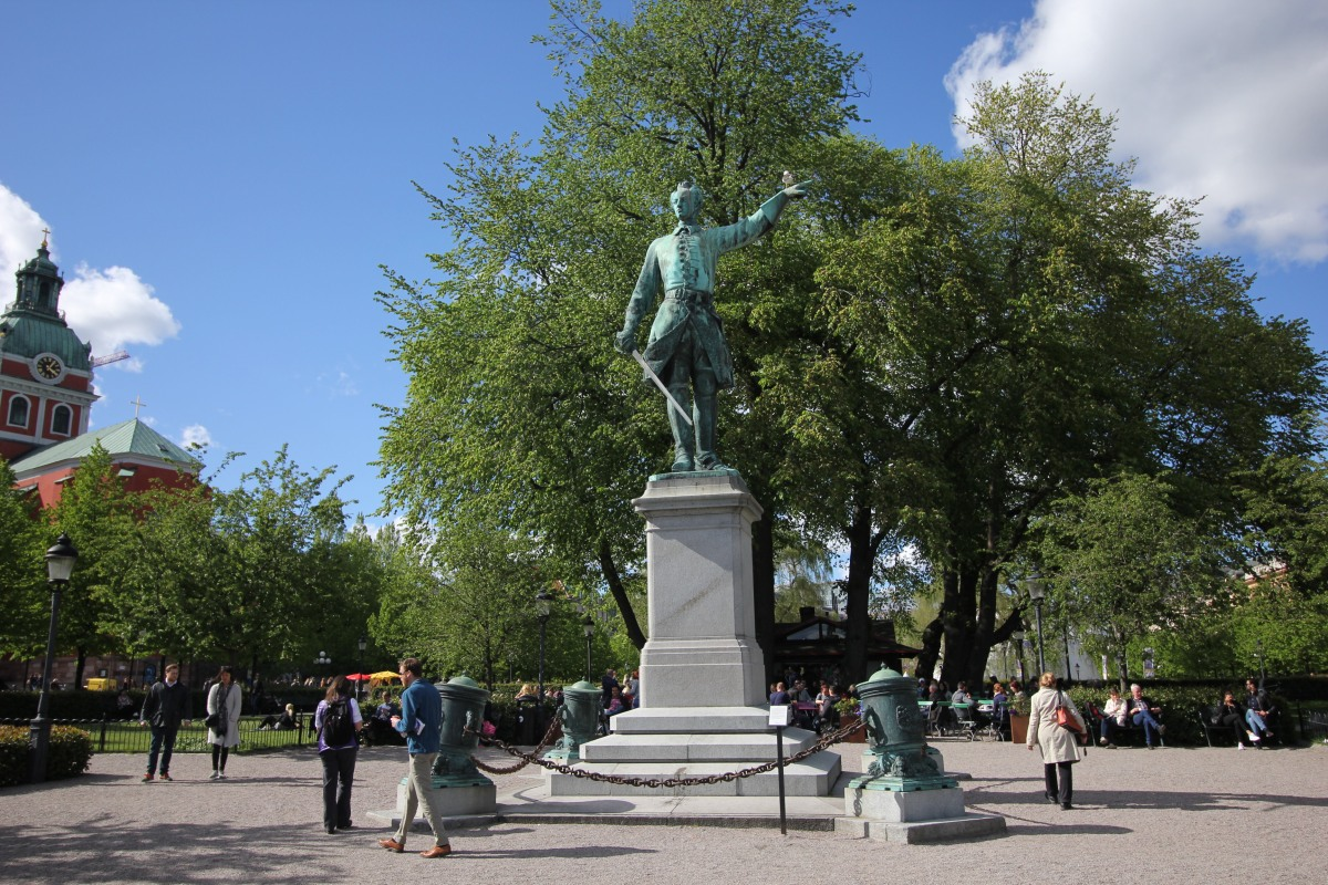 Public statue of the Swedish king Karl XII 1697-1718 in the park Kungstradgarden